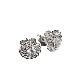Magnolia Sparkle Earrings - Sterling Silver
