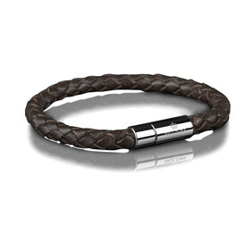 Brown Leather Bracelet 6mm - Silver