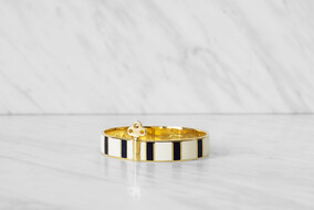 Stripe Bangle with lock - 18ct Gold